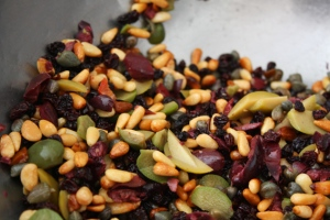 pinenuts etc currants olives capers