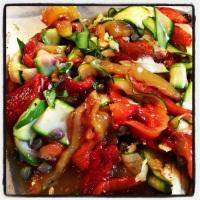 red pepper, zucchini,capers