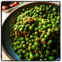 peas braised with garlic, anchovy, lemon & chilli flakes