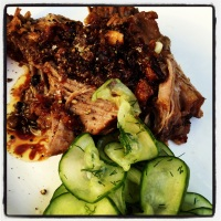 New favourite! Veal brisket (from Feather&Bone) with cucumber salad