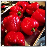 Roasting capsicums for bottling